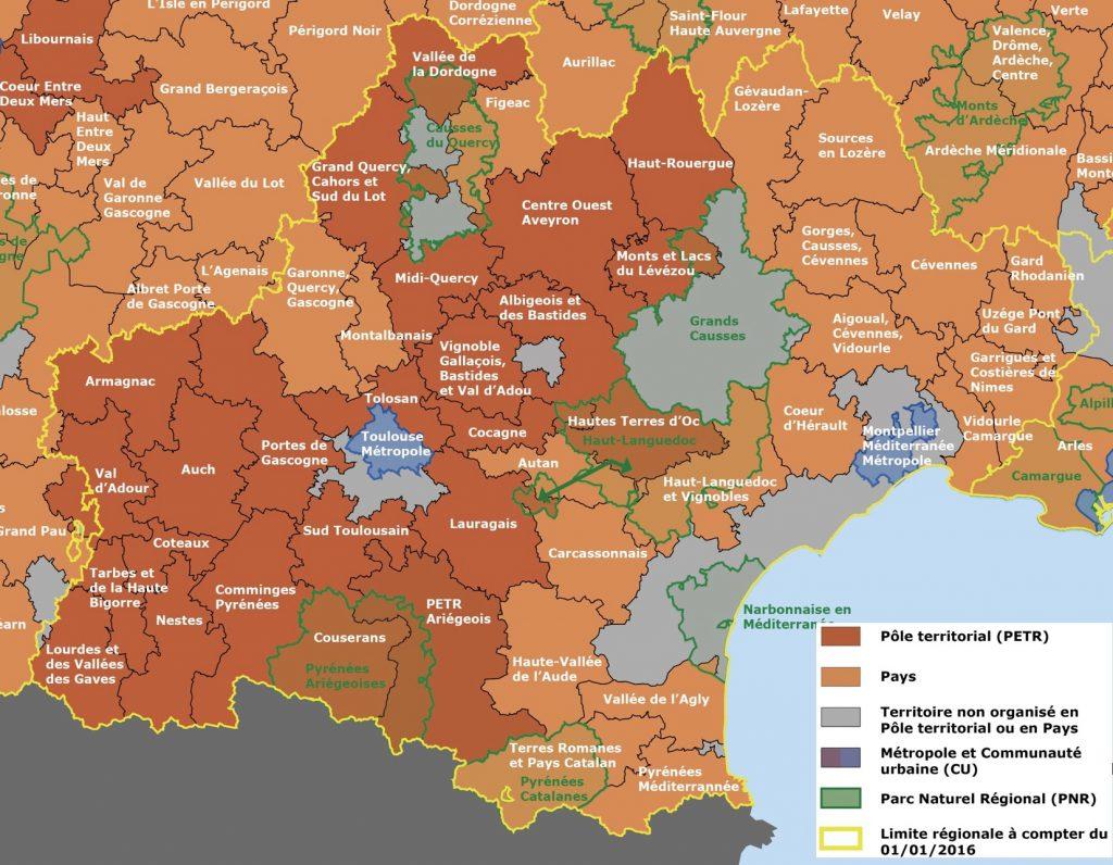 Carte des territoires de projets en Occitanie